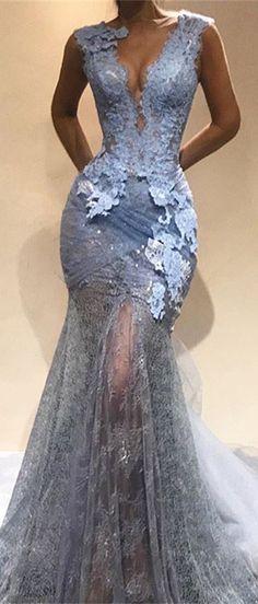 Elegant V-Neck Evening Dress Online | 2018 Mermaid Lace Prom Dress From 27dress.com