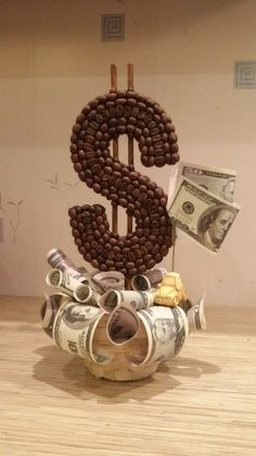Cup Crafts, Coffee Crafts, Diy And Crafts, Paper Crafts, Money Bouquet, Gift Bouquet, Patio House Ideas, Money Creation, Floating Tea Cup