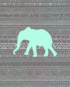 Mint Elephant Art Print [previous pinner's caption]