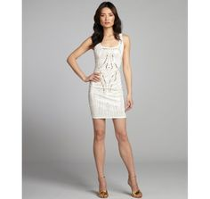 Wyatt ivory jersey knit studded scoop neck tank dress
