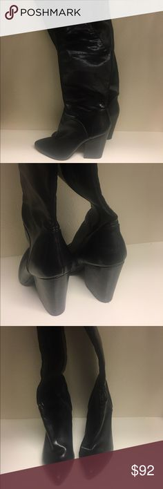 Thigh high black Nine West boots Wore these bad boys maybe three times... I looked like a baby lamb trying to walk in them, 3.5in heel, but super comfy and so hot for winter.  These are priced to sell! Nine West Shoes Over the Knee Boots