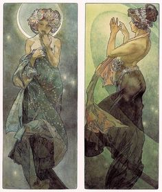 Mucha Art  Study of the MOON and NORTH STAR by THEwhimsicalPEACOCK, $6.99