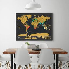 Display your travel adventures with a beautiful scratch off world map from travelscratcher.com