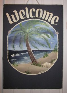 Handpainted Personalized Palm Tree Beach by Slateexpectations, $39.95