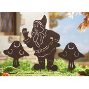 Gnome & Mushrooms Decorative Garden Shadow Stakes