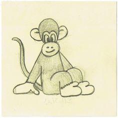 Dessin d'un singe sur un post-it Disney Characters, Fictional Characters, Dogs, Art, Monkeys, Drawings, Atelier, Art Background, Kunst