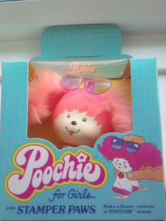 """I think I had this, along with some other Poochie accessories. I love how the box says, """"Poochie for Girls,"""" just in case the fluffy pink hair and flower dotting the """"i"""" on """"Poochie"""" didn't give it away. 90s Childhood, Childhood Memories, Barbie, Retro Toys, 1980s Toys, Vintage Toys 80s, Vintage Tv, Vintage Music, Vintage Dress"""