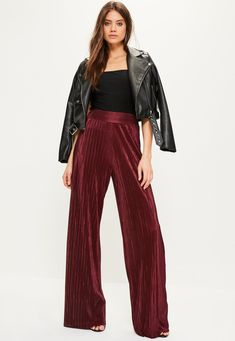 Burgundy Crinkle High Waisted Wide Leg Pants - Missguided