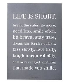 Look what I found on #zulily! Gray 'Life is Short' Wall Sign #zulilyfinds