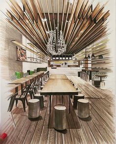 Home Decoration Cheap Ideas Interior Architecture Drawing, Interior Design Renderings, Drawing Interior, Architecture Sketchbook, Interior Rendering, Interior Sketch, Architecture Design, Classical Architecture, Bar Interior