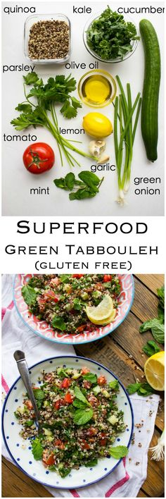 my favorite. Superfood Green Tabbouleh - this gluten free salad made with superfood quinoa and kale. Takes minutes to make. Top it with chicken for healthy complete meal. Superfood Recipes, Vegetarian Recipes, Cooking Recipes, Healthy Recipes, Free Recipes, Healthy Snacks, High Carb Foods, No Carb Diets, Clean Eating