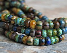 Laguna Picasso 6/0 Czech Glass Bead Aged Striped by BobbiThisnThat