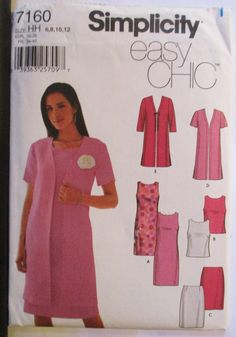 Misses Sewing Pattern Simplicity 7160 Misses Dress or Top, Skirt & Jacket Pattern Size 6, 8, 10, 12 Uncut by SewYesterdayPatterns on Etsy
