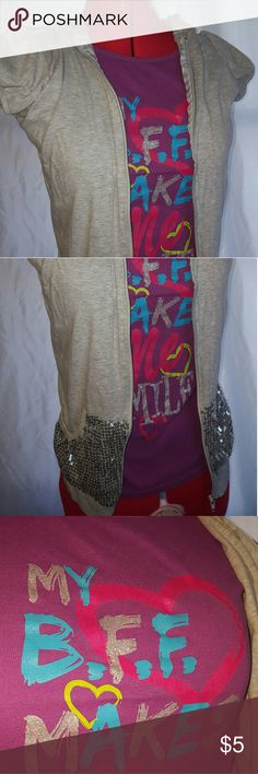 """Girl's BFF Short Sleeve Jacket Shirt size 10/12 Girl's BFF grey short sleeve jacket shirt. The outside has sparkles all over the pockets, zipping it up will make you shine! The shirt says, """"My BFF Makes Me Smile."""" Basic Editions Shirts & Tops"""