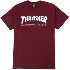 Thrasher Skate Mag T-Shirt ($20) ❤ liked on Polyvore featuring tops, t-shirts, shirts, purple graphic tees, graphic design shirts, purple shirt, graphic shirts and graphic print t shirts