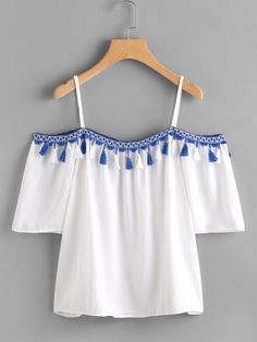 SheIn offers Open Shoulder Taped Embroidered Tassel Trim Top & more to fit your fashionable needs. Teen Fashion Outfits, Trendy Outfits, Girl Fashion, Girl Outfits, Summer Outfits, Cute Outfits, Tween Fashion, Fashion Dresses, Fancy Tops