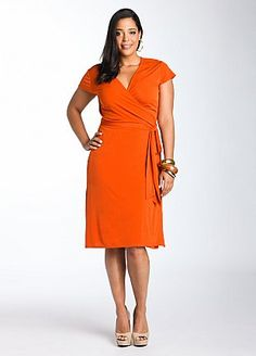 Love the orange and again the side bow to help the waistline.  Looks a little too clingy though for my taste.