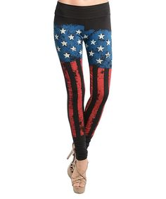 This Black & Blue American Flag Leggings - Women by Buy in America is perfect! #zulilyfinds