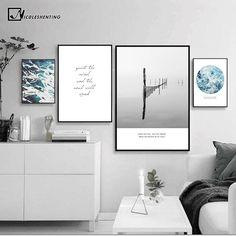 Wal artl Picture Nordic Canvas Painting Sea Beach Landscape Minimalist Art Poster Print Motivational Quote Home Decor Unframed Minimalist Painting, Minimalist Art, Modern Wall Decor, Diy Wall Decor, Home Decor, Simple Wall Art, Beach Canvas, Beach Landscape, Black Decor