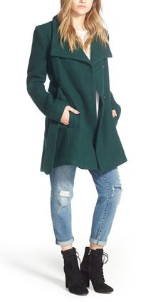 Subtle waffle texture adds tactile dimension to this softly structured Steve Madden coat with wide, face-framing draped lapels. A fall must-have from the Nordstrom Anniversary Sale!