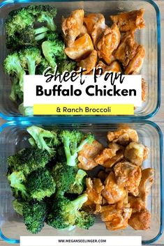 This Sheet Pan Buffalo Chicken & Ranch Broccoli is a super easy recipe to toss on a sheet pan for tasty, Keto-friendly meal prepped lunches. #ketorecipes #ketochickenrecipes #ketosheetpanrecipes #lowcarbsheetpanrecipes #ketolunchrecipes #ketodinnerrecipes #mealprep #chickenrecipes #sheetpandinner #sheetpanchickenrecipes #chickenandbroccoli #easymealprep