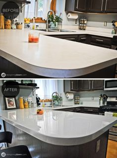 Glossy Painted Kitchen Countertop Tutorial, By AD Aesthetic Featured On Remodelaholic.com Give your counter tops a new look with this tutorial. Countertop Redo, Painting Countertops, Kitchen Countertop Materials, Diy Countertops, Kitchen Counters, Kitchen Cabinets, Spray Paint Countertops, Kitchen Laminate, Painting Cabinets