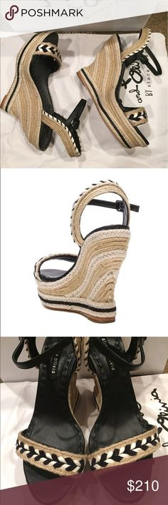 "Alice + Olivia Janaya espadrille wedge sandals Woven jute straps and a striped espadrille wedge keep this lofty sandal looking casual yet polished.  Lightly padded footbed. Adjustable strap with buckle closure. Textile upper/leather lining and sole. Insole: 10"". Heel: 5.1"", platform: 1.25"". Dust bag included. Alice + Olivia Shoes Platforms"