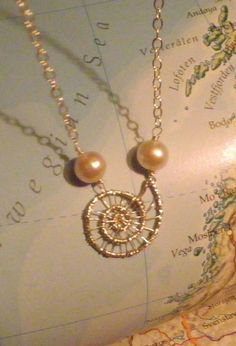 Sea Spiral Sterling Silver and Pearls Wirewrapped Necklace by TriannasTreasures