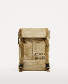 ZARA - MAN - BEIGE BACKPACK WITH FADED FABRIC