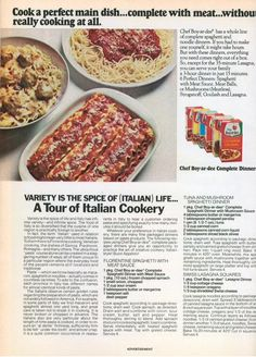 The Chef just doesn't want to go away, does he? Every time I dig through my stuff, there he is again. Retro Ads, Vintage Ads, Vintage Food, Chef Boyardee, Vintage Recipes, The Good Old Days, Main Dishes, Spices, Dinner Recipes
