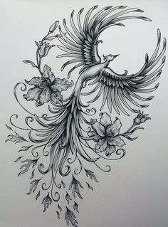 Phoenix original art example of jennifermckayhiggins - Tatoo. Piercings, Piercing Tattoo, Tattoo Drawings, Body Art Tattoos, Tatoos, Ink Tattoos, Ship Tattoos, Flame Tattoos, Stomach Tattoos