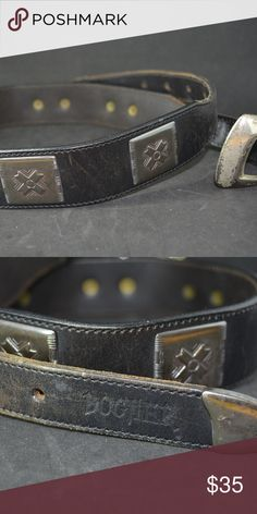 VTG BOGNER ONYX BLACK LEATHER BELT PEWTER ACCENTS BEAUTIFUL BOGNER BELT IN EXCELLENT CONDITION  6 Square Pewter Accents in Cross Design  1 Centered Bull Skull in Pewter  Pewter Tip  Some wear to buckle  Ends are tapered Bogner Accessories Belts
