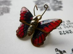 NOW SOLD! Vintage tiny enamelled butterfly brooch, £6.00