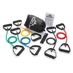 Buy Black Mountain Products Resistance Band Set (Five Bands Included) big discount! Only 10 days. Get your Black Mountain Products Resistance Band Set (Five Bands Included) now! Best Resistance Bands, Resistance Band Exercises, Best Gym Equipment, No Equipment Workout, Fitness Equipment, Body Workout At Home, At Home Workouts, Dumbbell Set, Black Mountain