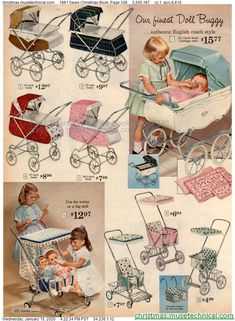 1961 Sears Christmas Book, Page 336 - Christmas Catalogs & Holiday Wishbooks Christmas Catalogs, Christmas Books, Vintage Christmas, Vintage Pram, Vintage Love, Childhood Toys, Childhood Memories, Vintage Advertisements, Vintage Ads