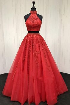 Red two pieces tulle lace applique long prom dress, red evening dress