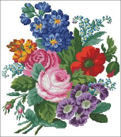 Beautiful floral cross stitch pattern. Bouquet with delphinium vintage cross stitch pattern recharted from an original hand painted Berlin woolwork chart. Only full cross-stitches used. Only pattern. ☛Pattern information Fabric – Aida 14 Count Design Size – 150 w x 170 h stitches