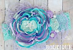 Over the Top, Beach, Mermaid, Girls Headband, OTT, Couture, Singed Satin Flower, Satin Flower Headband, Photo Prop, Wedding, Flower Girl by AubreyAnnasBoutique on Etsy https://www.etsy.com/listing/216601053/over-the-top-beach-mermaid-girls