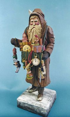Folk art wood carvings from The Whimsical Whittler :: Christmas Peddler Ltd. Ed. :: Christmas and Santas