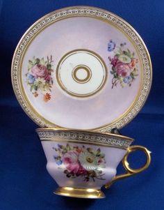 Antique Dallwitz Porcelain Floral Cup & Saucer Porzellan Tasse German Germany #ThunKlosterleGerman