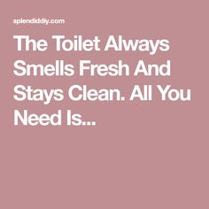 The Toilet Always Smells Fresh And Stays Clean. All You Need Is...