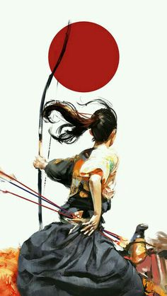 Samurai had numerous ryu, or training halls, dedicated to the perfection of highly refined and specialized combat skills, archery (specifically mounted) being one of these Samurai Girl, Ronin Samurai, Female Samurai Art, Illustration Inspiration, Illustration Art, Botanical Illustration, Art Illustrations, Kubo And The Two Strings, Art Asiatique
