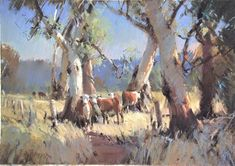 Trees-Herefords-Vic.Pastel 45 x 64 cm-2013 (2) Cool Landscapes, Landscape Paintings, Outdoor Cafe, Tree Oil, Australian Artists, Studio Portraits, Pastel, Trees, Illustrations