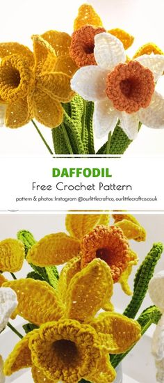This pattern by brilliant designers behind Our Little Craftis out of this world! Trust us, we have seen many patterns for crochet flowers before. This one surely deserves a place in your collection of go-to crochet projects for spring. #crochetflower #crochetdaffodil #crochetdecor #crochetflowers #freecrochetpattern #crochetpattern Crochet Food, All Free Crochet, Crochet Crafts, Crochet Projects, Crochet Towel, Crochet Motif, Crochet Designs, Crochet Leaves, Knitted Flowers