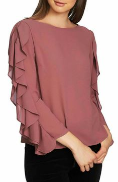 cinq a sept Gisele Floral Ruffle Blouson-Sleeve Top - Buy Designer Ruffle Slit Sleeve Top. Find the lowest price on SALE. Kurti Sleeves Design, Sleeves Designs For Dresses, Kurti Neck Designs, Dress Neck Designs, Stylish Dress Designs, Sleeve Designs, Stylish Dresses, Blouse Designs, Abaya Fashion