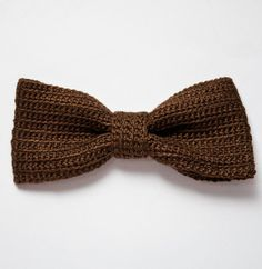 Knitted brown bowtie. Boys Hand Knit Bow Tie. от BowtiefromGalina