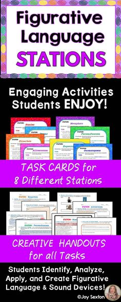 Would you like your students more clear on figurative language and sound devices? Motivate them with this must-have creative STATION work! You get 8 different stations with task cards and inviting student handouts for each. Students identify and analyze figurative language, and then brainstorm to apply their knowledge in imaginative ways.