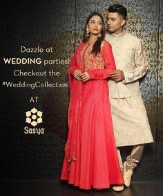 #Wedding #Party look from Sasya.  #Collection #Facebook #Fashion #IndianWear #Ethnic #Men #Women #Red #Kolkata #Calcutta #Follow #WOW