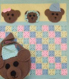 Crochet Pattern Bear Baby Blanket - Diaper Cover - Digital Download