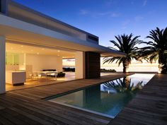 Living room with outdoor pool